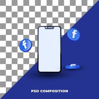 Facebookの3dレンダリングソーシャルメディア通知