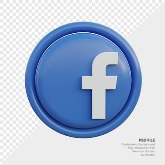 고립 된 라운드에서 페이스 북 3d 스타일 로고 개념 아이콘