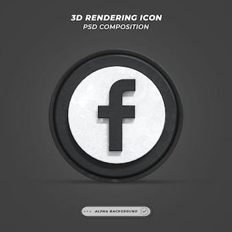 Facebook application black logo on 3d rendering