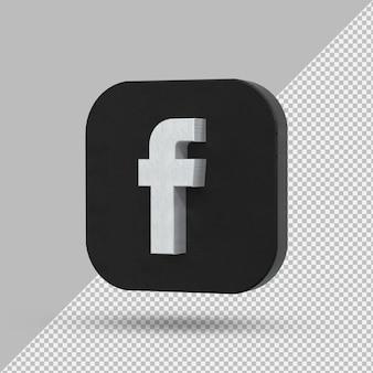 Приложение facebook черный логотип на 3d-рендеринге