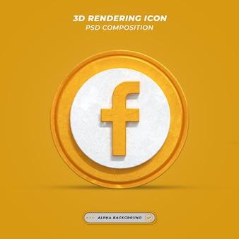 Facebook application gold logo on 3d rendering