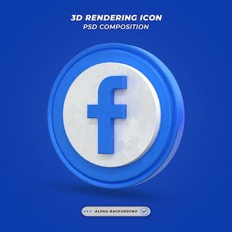 Facebook application logo on 3d rendering
