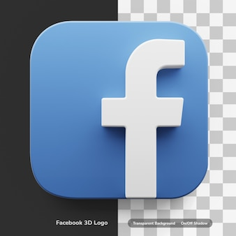 Facebook apps logo in big style 3d design asset isolated