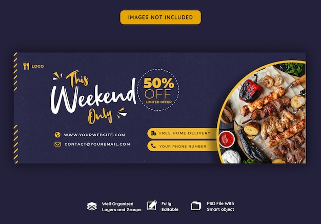 Facebook cover banner template for food and restaurant
