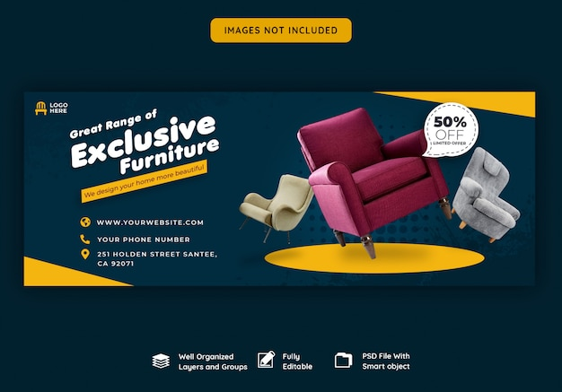 Facebook cover banner template for furniture sale