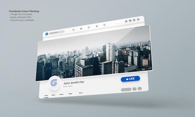 Макет фото обложки facebook 3d визуализированный интерфейс