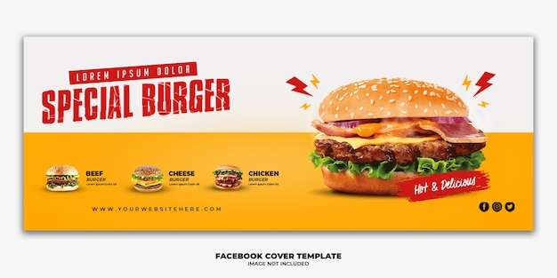 Facebookのカバーポストバナーテンプレートレストランファーストフードメニューバーガー