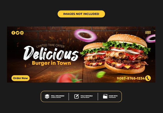 レストランのファーストフード メニュー ハンバーガーの facebook カバー投稿バナー テンプレート