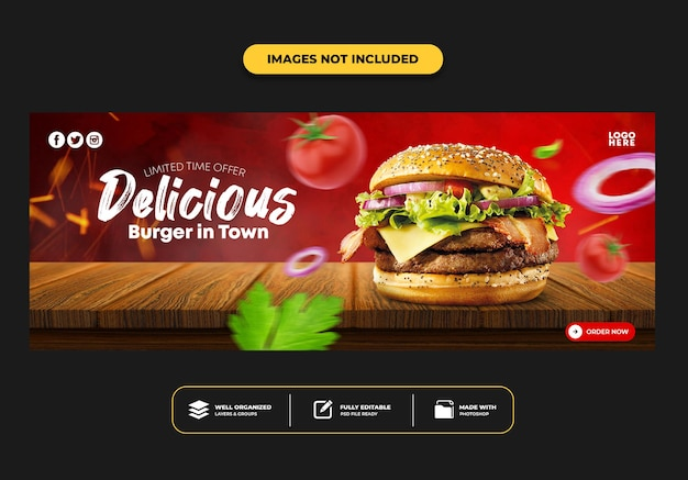 레스토랑 패스트 푸드 메뉴 버거를위한 페이스 북 커버 포스트 배너 템플릿