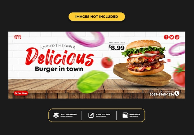 Шаблон баннера для обложки facebook для ресторана быстрого питания, меню, бургера