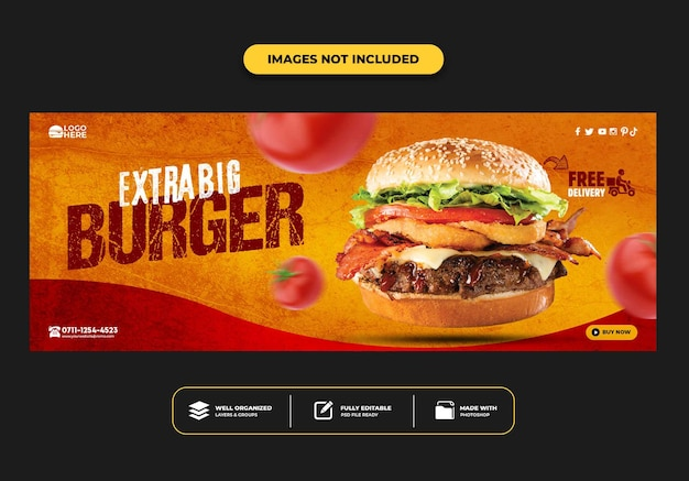 Шаблон баннера на обложке facebook для ресторана быстрого питания меню бургер