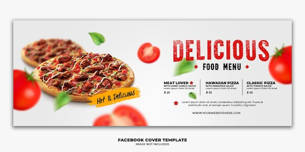 Facebookのカバーポストバナーテンプレートレストランファーストフードメニューピザ