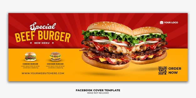 Facebook cover post banner template for restaurant fast food menu burger