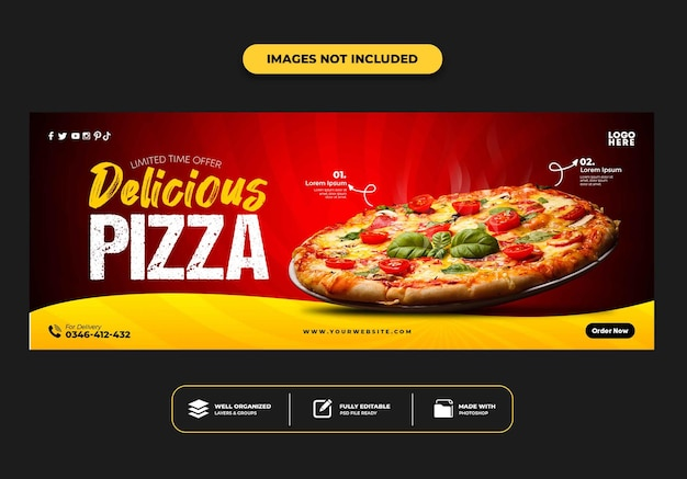 Facebook cover post banner template for restaurant fast food menu pizza