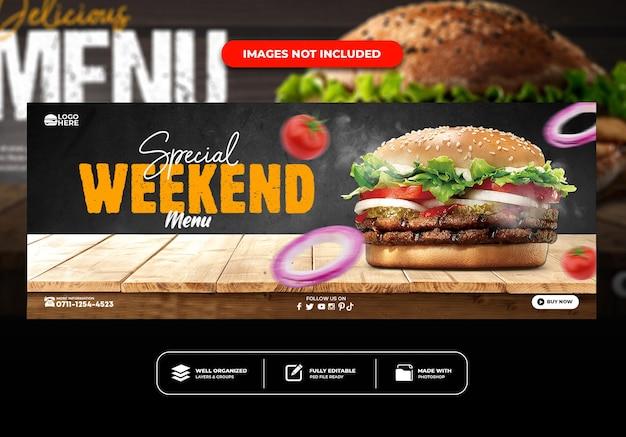 Facebook cover restaurant menu delicious pizza