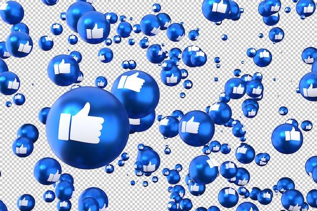 Реакции facebook, такие как emoji 3d визуализации символ социальных медиа шар с как