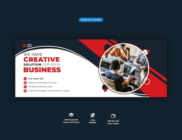 Facebook header banner template for creative agency promotion