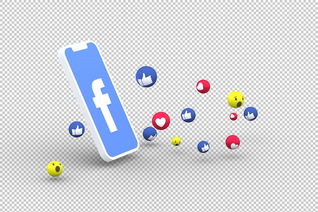 Facebook icon on screen smartphone and facebook reactions love on transparent background