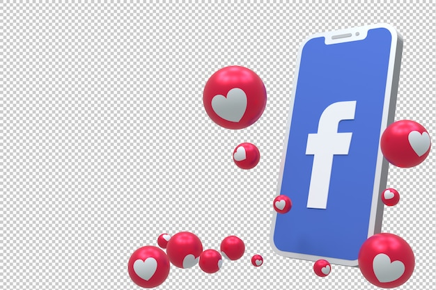 Facebook icon on screen smartphone or mobile 3d render and facebook reactions love, wow, like emoji 3d render Premium Psd
