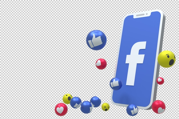 Facebook icon on screen smartphone or mobile 3d render and facebook reactions love, wow, like emoji 3d render