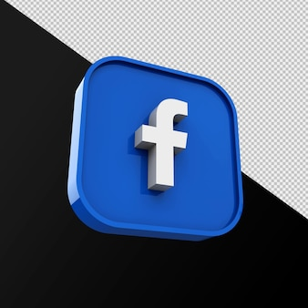 Facebook 아이콘, 소셜 미디어 응용 프로그램. 3d 렌더링 premium photo