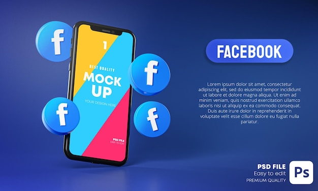 Facebook icons around smartphone app mockup 3d