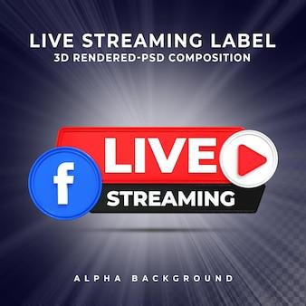 Facebookライブストリーミング3dレンダリングアイコンバッジ