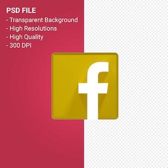 3d-рендеринг логотипа facebook на прозрачном фоне