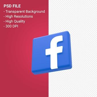 Facebook логотип 3d-рендеринга