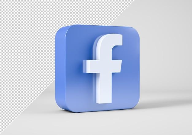 Facebook logo in 3d rendering
