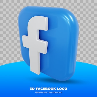 Facebook logo isolated in 3d rendering