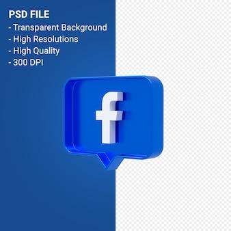 알림에 facebook 로고 3d 렌더링 절연