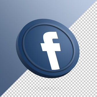 Facebook logo on the round button 3d rendering isolated