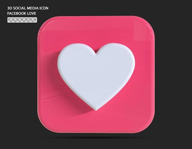 Facebook 사랑 아이콘 3d 렌더링 개념