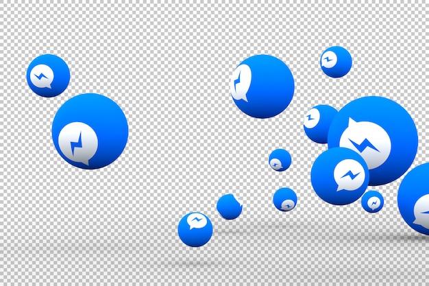 画面のスマートフォンまたはモバイル上のfacebookメッセンジャーアイコンとfacebookのメッセンジャーの反応は3 dのレンダリングが大好き