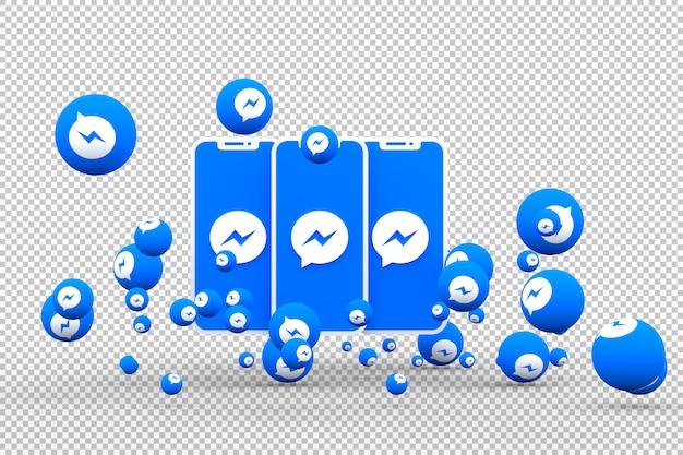 画面のスマートフォン上のfacebookメッセンジャーアイコンとfacebookのメッセンジャーの反応