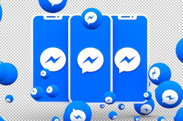 화면 스마트 폰 및 페이스 북 메신저 반응의 facebook 메신저 아이콘
