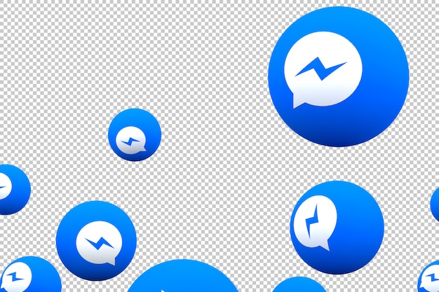 Facebook messenger icon on screen smartphone or mobile and facebook messenger reactions love 3d render