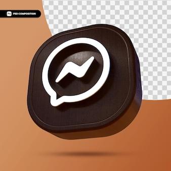 3dレンダリングで分離されたfacebookメッセンジャーのロゴ Premium Psd