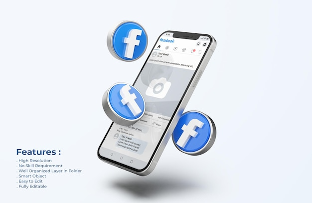 Facebook on mobile phone mockup with 3d icons