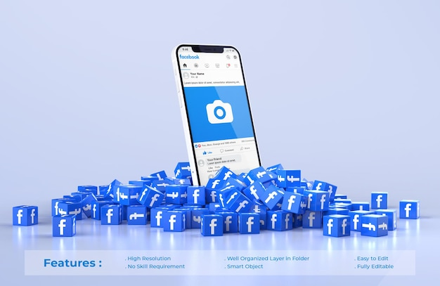 Facebook on mobile phone mockup with scattered pile of cubes icon facebook