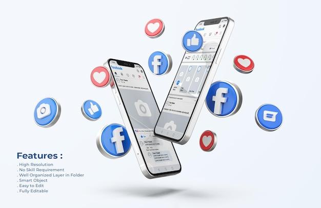 3d 아이콘이있는 휴대 전화 모형의 Facebook 프리미엄 PSD 파일