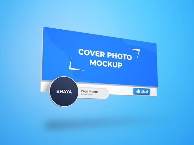 Facebookページの表紙とプロフィール写真のインターフェース3dモックアップ