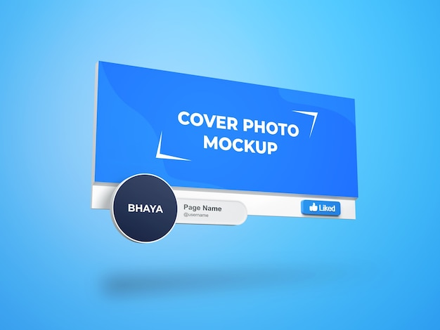 Facebook page cover and profile picture interface 3d mockup