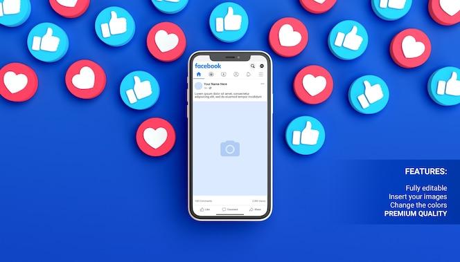 Mockup di post di facebook con telefono su sfondo blu circondato da notifiche simili