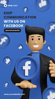 Facebook promotion with 3d facebook icon for instagram story template premium psd