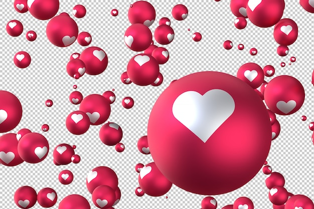 Facebook reactions heart emoji 3d render social media balloon symbol with heart