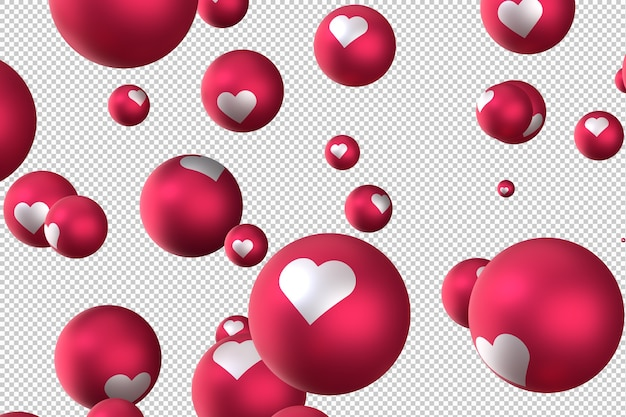 Facebook reactions heart emoji 3d render