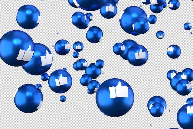 Реакции facebook, такие как emoji 3d визуализации на прозрачном фоне, символ социальных медиа шар с как