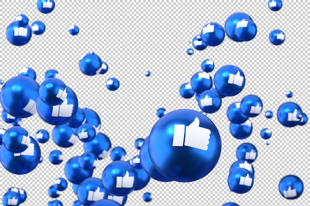 Facebook reactions like emoji 3d render,social media balloon symbol with like